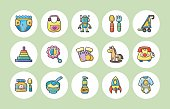 New born baby icons set,eps10