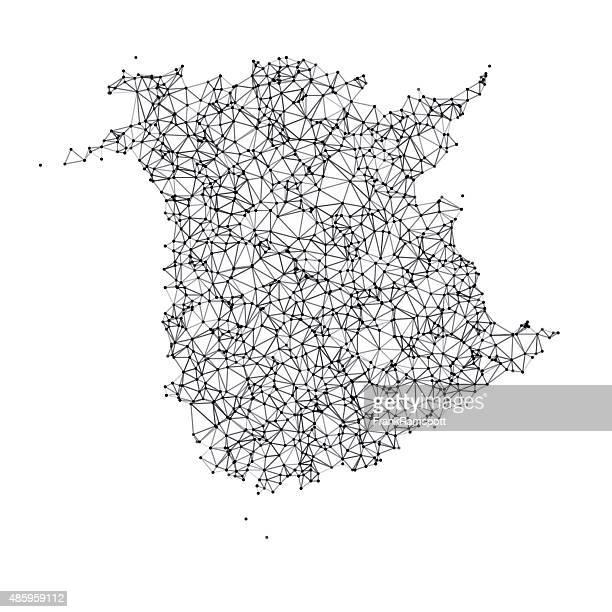 ニューブランズウィックマップネットワークブラックとホワイトの - ニュージャージー州ニューブランズウィック点のイラスト素材/クリップアート素材/マンガ素材/アイコン素材