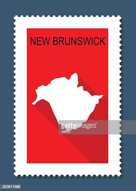 new brunswick map on red background, flat design,stamp - new brunswick canada stock illustrations
