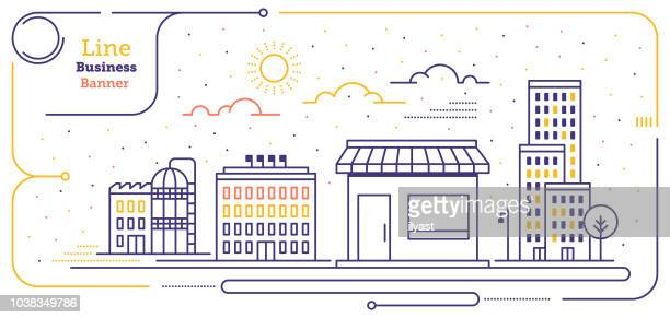 new business line web banner - town stock illustrations