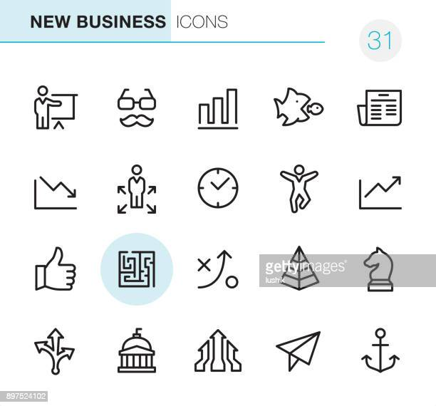new business - pixel perfect icons - moving down stock illustrations