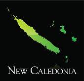 New Caledonia green shiny map