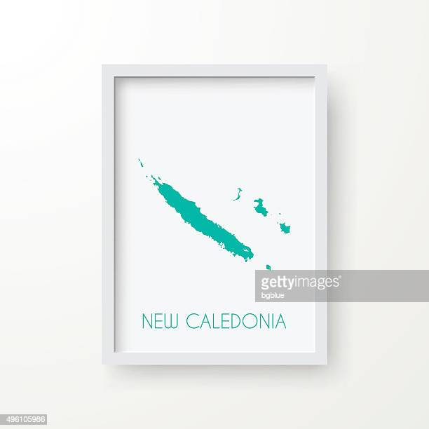 new caledonia map in frame on white background - french overseas territory stock illustrations