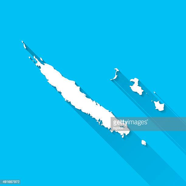 new caledonia map on blue background, long shadow, flat design - new caledonia stock illustrations