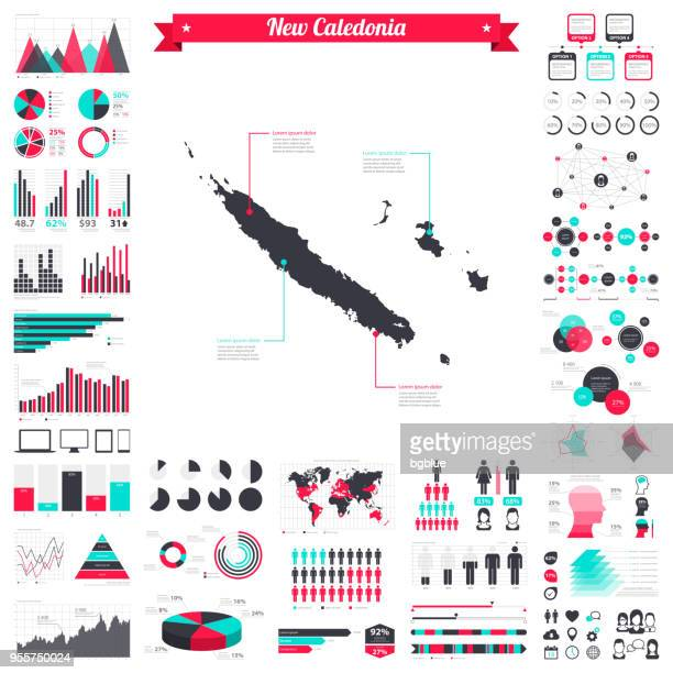 new caledonia map with infographic elements - big creative graphic set - new caledonia stock illustrations