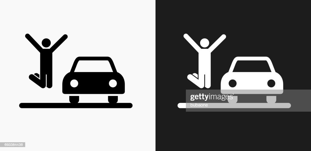New Car Icon on Black and White Vector Backgrounds