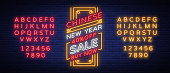 New Chinese year sales of poster in a neon style. Vector illustration, neon sign, bright banner, luminous flyer, neon brochure on New Year's discounts. Happy new Chinese year. Editing text neon sign