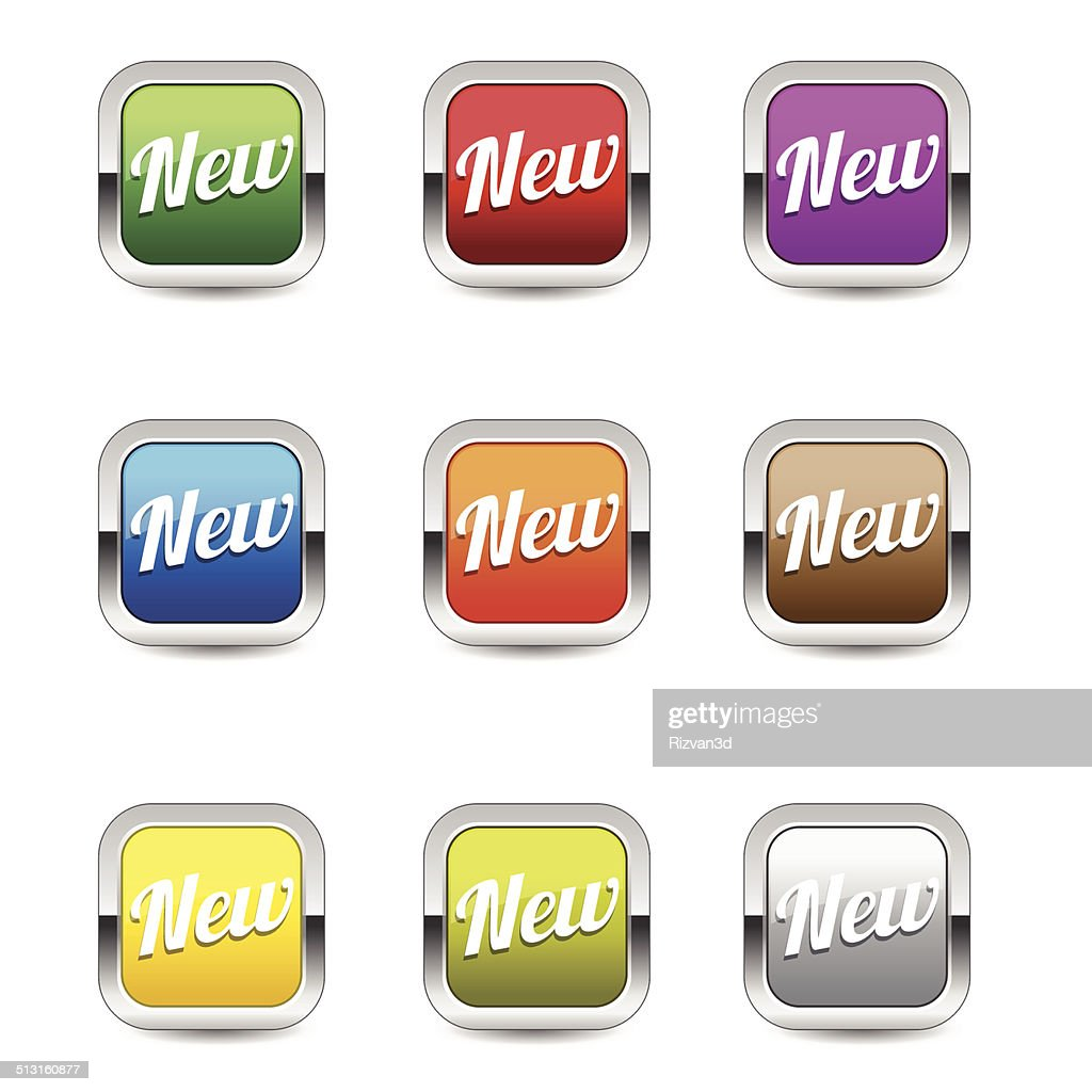 New Collection Glossy Shiny Square Vector Button