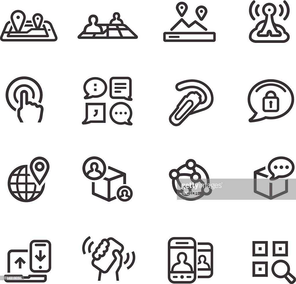 New Communication and Location Icons - Line Series