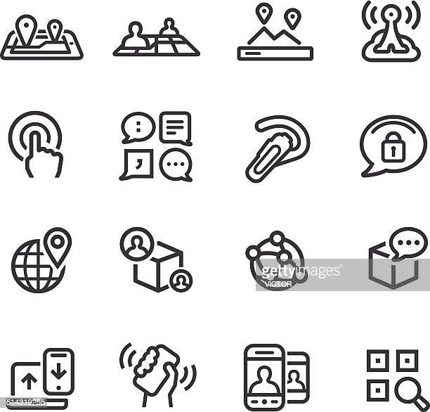 new communication and location icons - line series - shaking stock illustrations