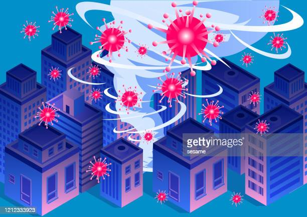 new coronary pneumonia virus covid-19 swept cities, global virus outbreak, tornado swept cities - severe acute respiratory syndrome stock illustrations