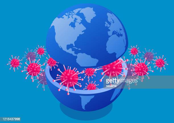 new coronavirus pneumonia covid-19 erodes into the earth, concept illustration of global virus plague - avian flu virus stock illustrations
