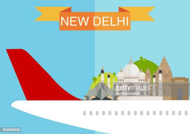 new delhi city - national landmark stock illustrations