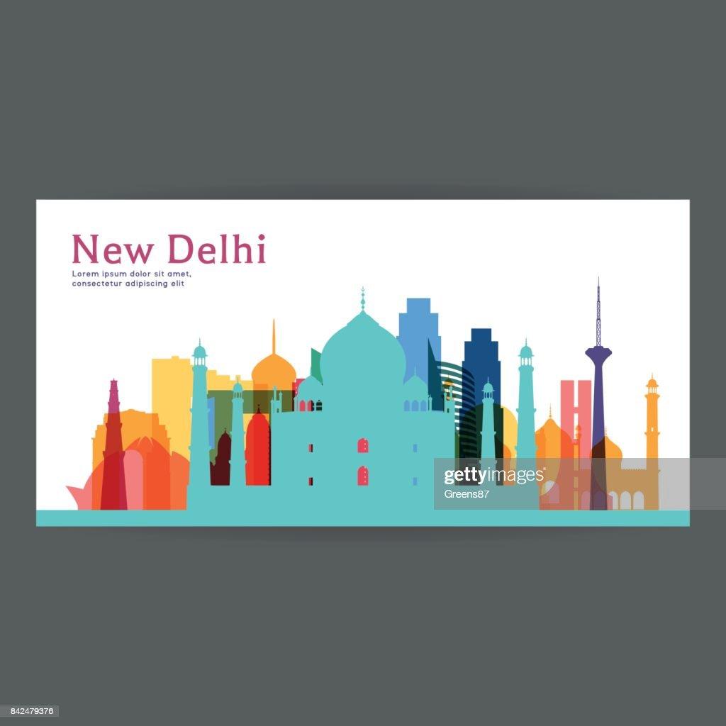 New Delhi colorful architecture vector illustration, skyline city silhouette, skyscraper, flat design.
