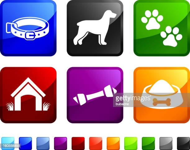 new dog and pet supplies vector icon set stickers - pet equipment stock illustrations, clip art, cartoons, & icons