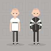 New eastern bloc conceptual illustration. Two unfriendly characters wearing sport suits. Grey mass housing background
