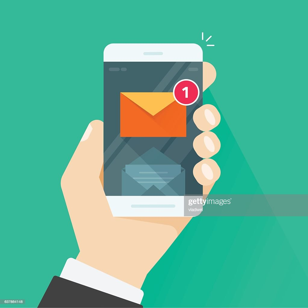 New email message notification on mobile phone vector illustration