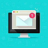 New email on computer vector illustration, flat cartoon desktop pc, e-mail envelope with notification received and browser, newsletter message, electronic mail or letter on screen isolated icon