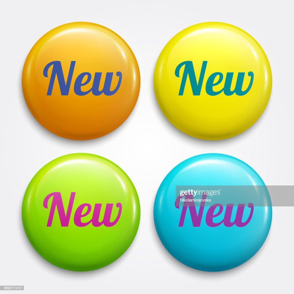 New glossy advertising badges, buttons. Circle labels for new products in shops. Vector.