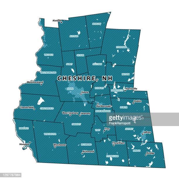 new hampshire cheshire county vektorkarte - chesterfield square stock-grafiken, -clipart, -cartoons und -symbole