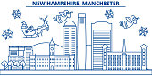 USA, New Hampshire , Manchester winter city skyline. Merry Christmas and Happy New Year decorated banner.Winter greeting card with snow and Santa Claus.Flat, line vector. Linear christmas illustration