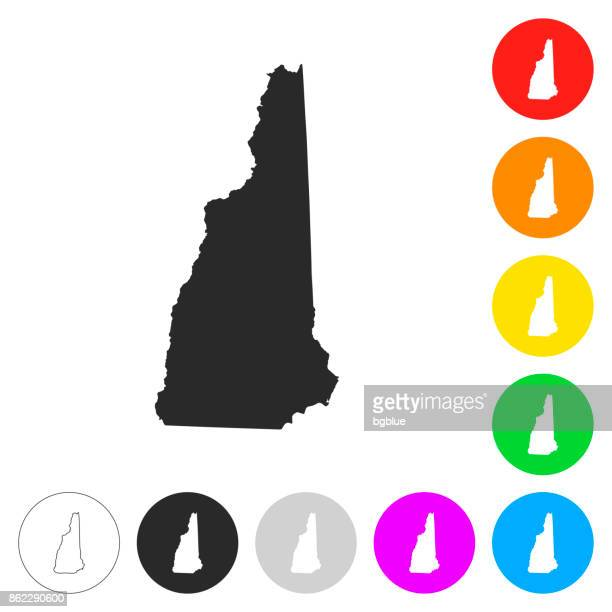 New Hampshire map - Flat icons on different color buttons