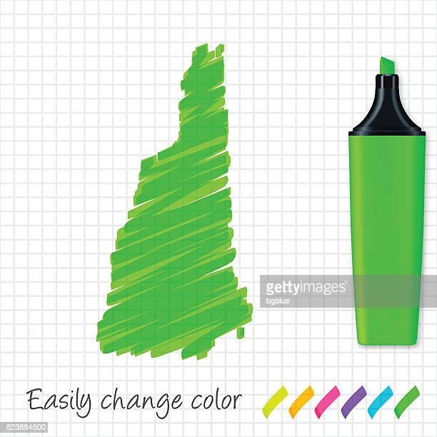New Hampshire map hand drawn on grid paper, green highlighter