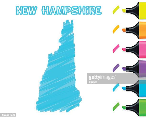 New Hampshire map hand drawn on white background, blue highlighter