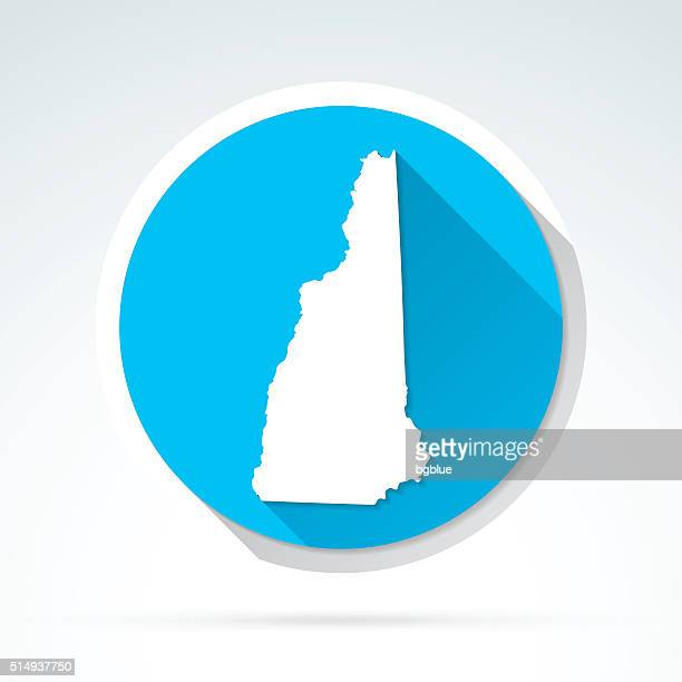 New Hampshire map icon, Flat Design, Long Shadow