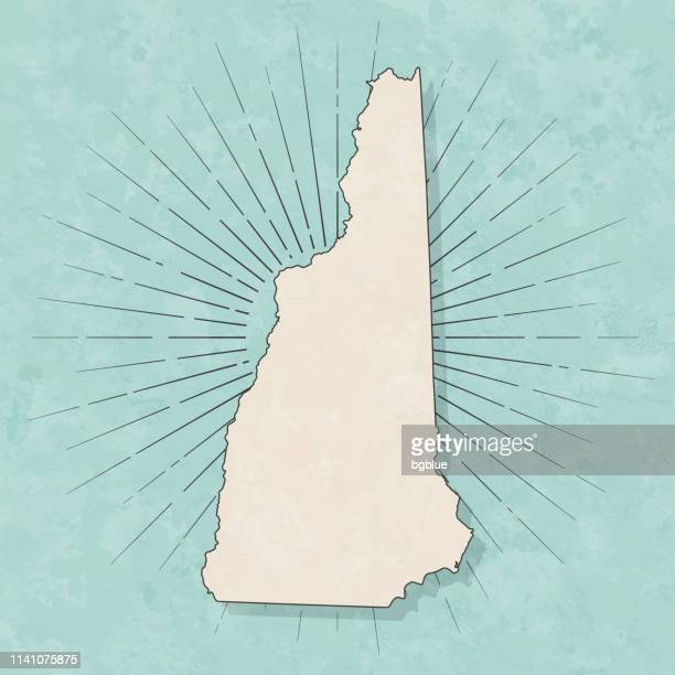 new hampshire map in retro vintage style - old textured paper - new hampshire stock illustrations