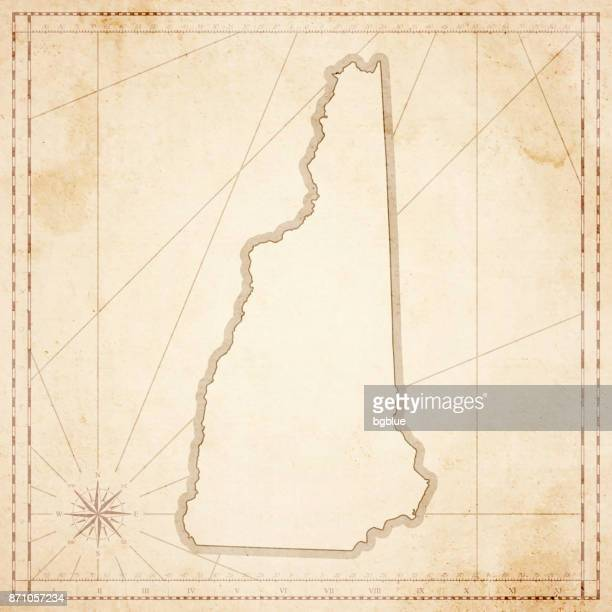 New Hampshire map in retro vintage style - old textured paper