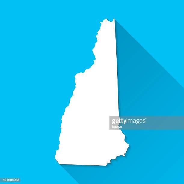 new hampshire map on blue background, long shadow, flat design - new hampshire stock illustrations
