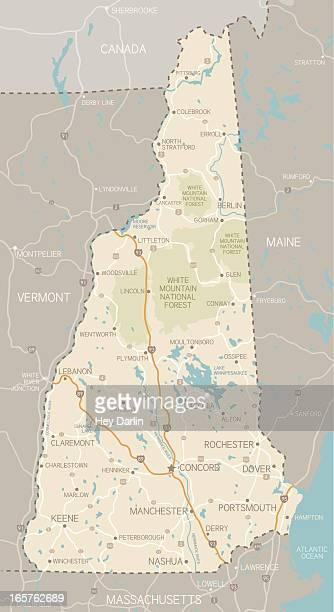 new hampshire map - new hampshire stock illustrations