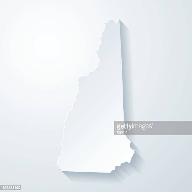 New Hampshire map with paper cut effect on blank background
