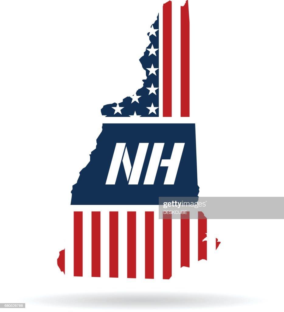 New Hampshire Patriotic Map. Vector graphic design