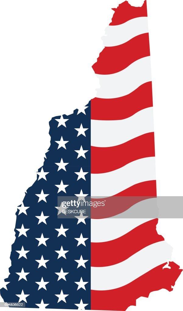 New Hampshire patriotic map