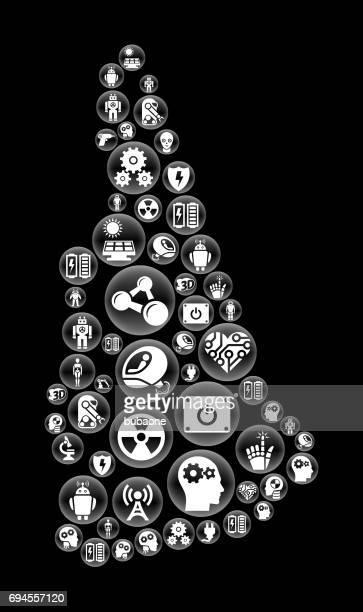 ニューハンプシャーのロボットとロボット黒ベクトル ボタン パターン - ロボット手術点のイラスト素材/クリップアート素材/マンガ素材/アイコン素材