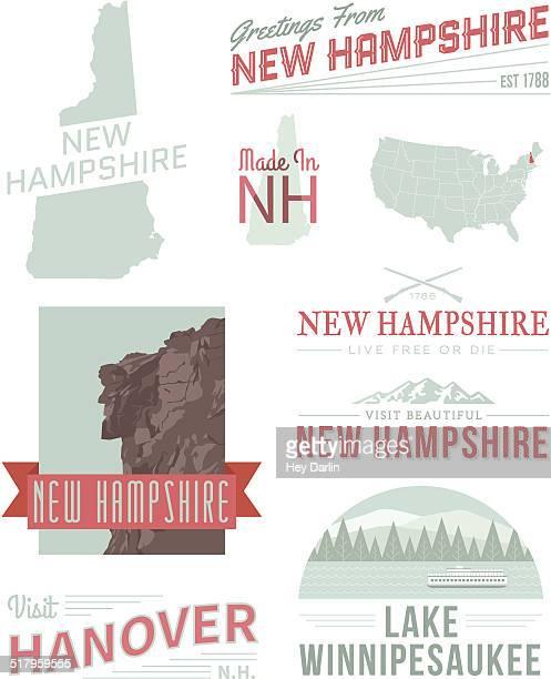 new hampshire typography - new hampshire stock illustrations