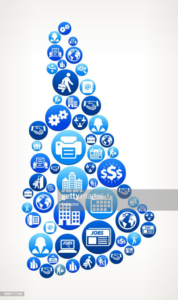New Hampshire Work and Employment Blue Vector Button Pattern : Stock Illustration