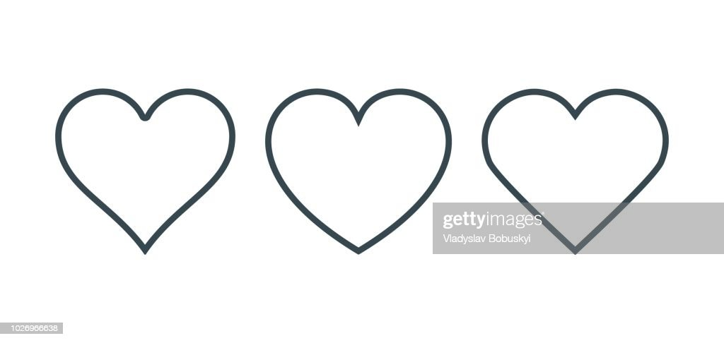 New heart icons, concept of love, linear icons thin grey line
