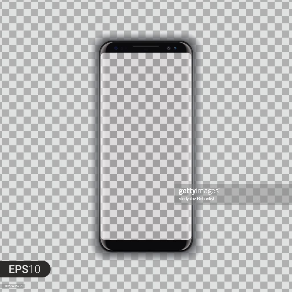 New High Detailed Realistic Smartphone Isolated on transparent Background. Display Front View. Frameless Device similar to galaxy s Mockup Separate Groups and Layers. Easily Editable Vector. EPS 10.