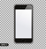 New High Detailed Realistic Smartphone Isolated on Transparent Background. Display Front View. Device Mockup Separate Groups and Layers. Easily Editable Vector. EPS 10.