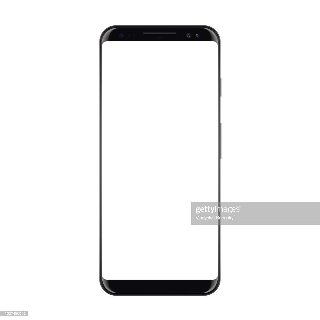 New High Detailed Realistic Smartphone Isolated on white Background. Display Front View. Frameless Device similar to galaxy s Mockup Separate Groups and Layers. Easily Editable Vector. EPS 10.