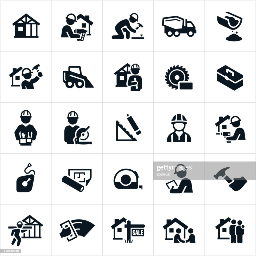 New Home Construction Icons : Stock Illustration