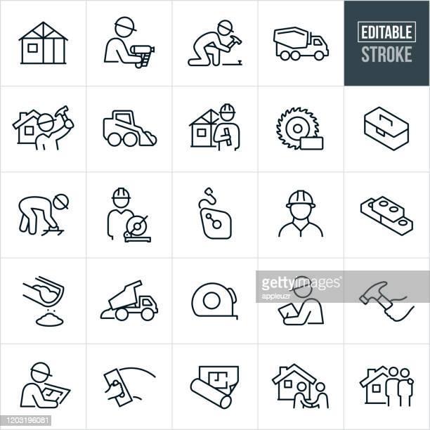 illustrazioni stock, clip art, cartoni animati e icone di tendenza di nuove icone della linea sottile per la costruzione della casa - tratto modificabile - realizzazione