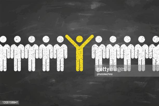 new idea human resourses concepts on blackboard background - individuality stock illustrations