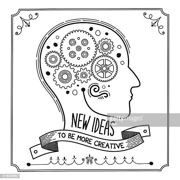 ilustraciones, imágenes clip art, dibujos animados e iconos de stock de nuevas ideas - cabeza humana