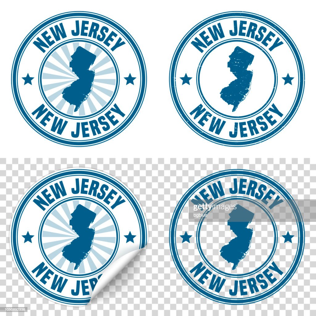 New Jersey Blue Sticker And Stamp With Name Map Vector Art