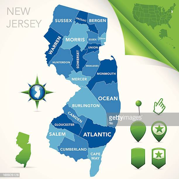 new jersey county map - new jersey stock illustrations