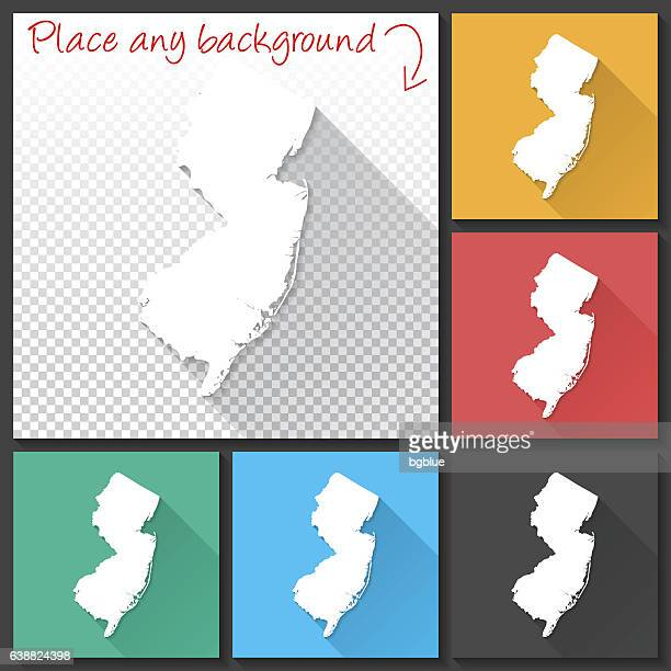 New Jersey Map for design, Long Shadow, Flat Design